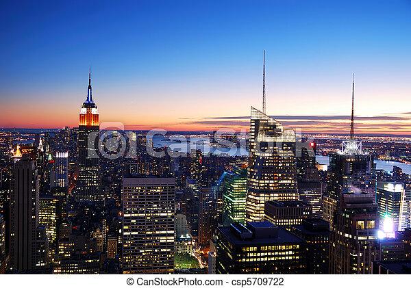 New York City Manhattan skyline aerial view - csp5709722