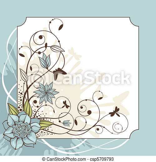 lovely floral frame vector illustration - csp5709793
