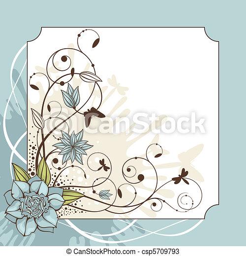 lovely floral frame vector illustration - csp5709793