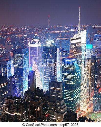 New York City Manhattan Times Square skyline aerial view - csp5710026