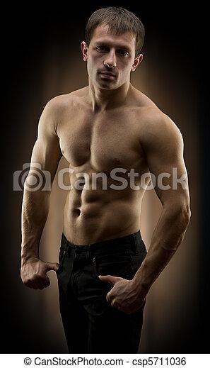 portrait of muscular men - csp5711036