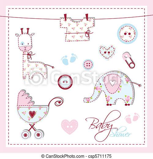 Baby shower design elements - csp5711175
