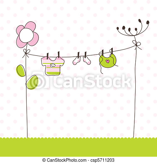 Baby girl arrival announcement card - csp5711203
