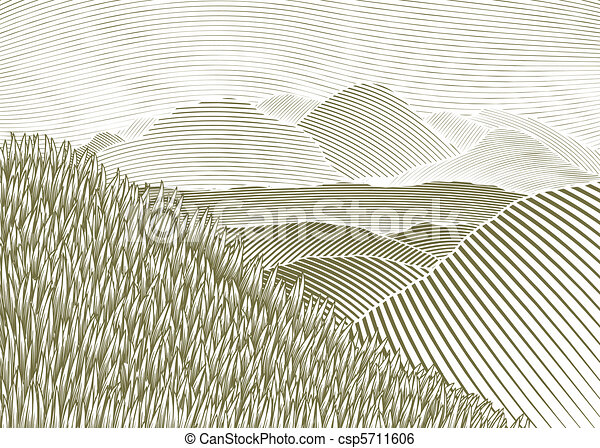 Woodcut Mountain Landscape - csp5711606