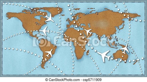 Airline planes travel flights air traffic world map - csp5711909