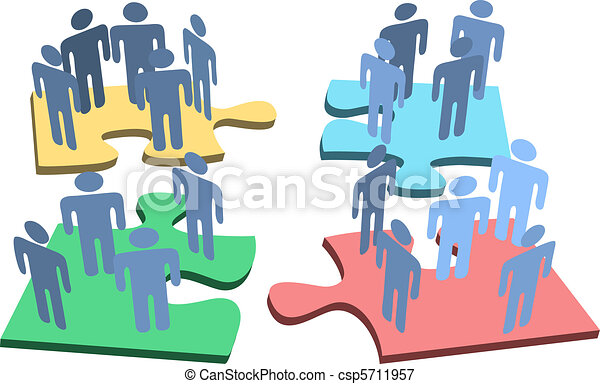 Human group people organization puzzle pieces solution - csp5711957