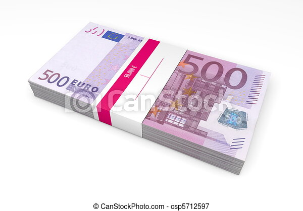 Packet of 500 Euro Notes with Bank Wrapper - csp5712597