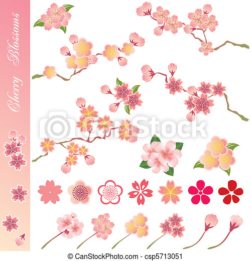 Cherry blossoms icons set - csp5713051