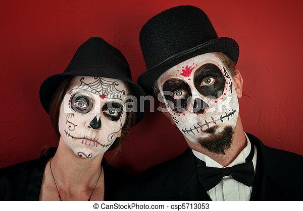 Photo , couple, maquillage, crâne