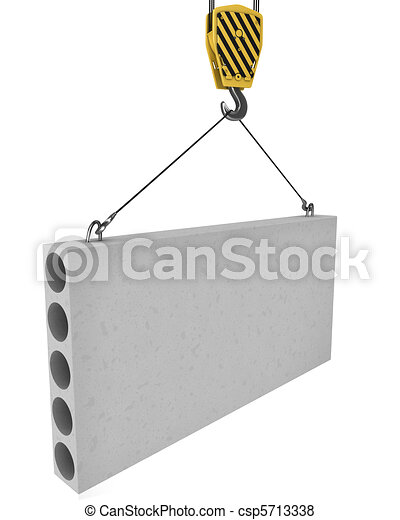 Crane hook lifts up concrete plate isolated - csp5713338