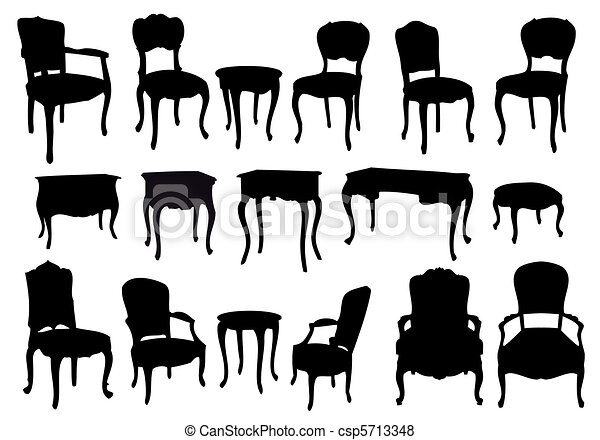 antique chairs and tables, vector - csp5713348