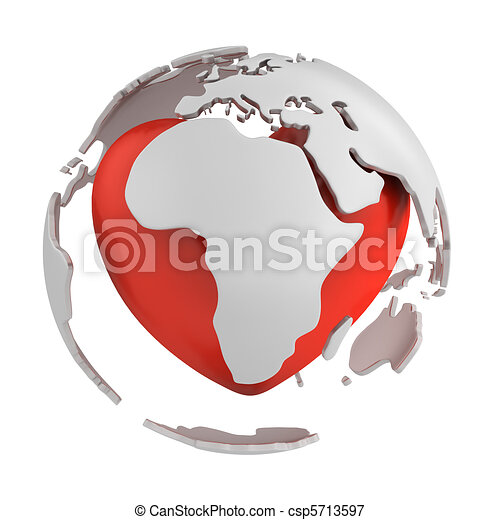 Globe with heart, Africa part - csp5713597