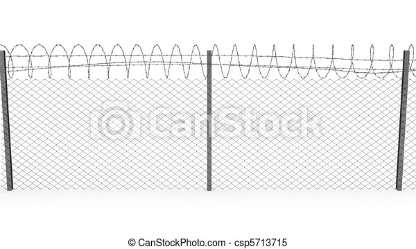Chainlink fence with barbed wire on top, front view - csp5713715