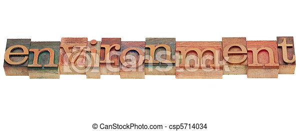 environment word in letterpress type - csp5714034