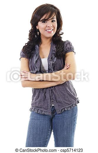 Casual young hispanic woman - csp5714123