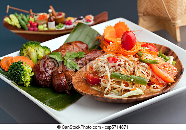 Thai Sausage and Som Tum - csp5714871