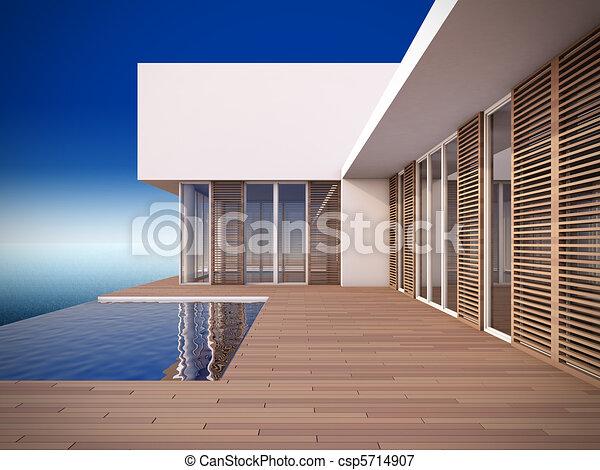 Modern house in minimalist style. - csp5714907