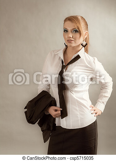 Stock Images of redheaded girl in formal dress white shirt ...