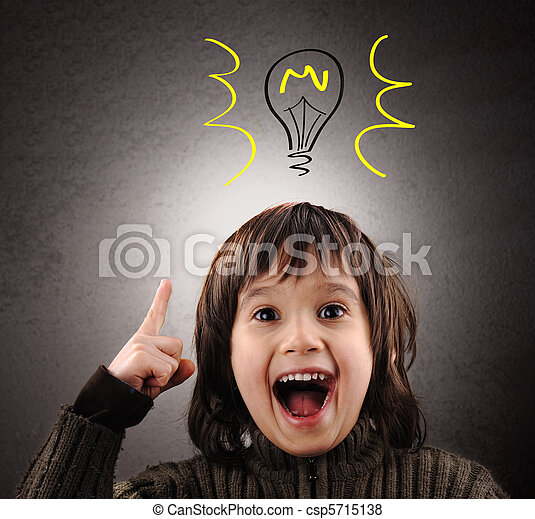 Exellent idea, kid with illustrated bulb above his head - csp5715138