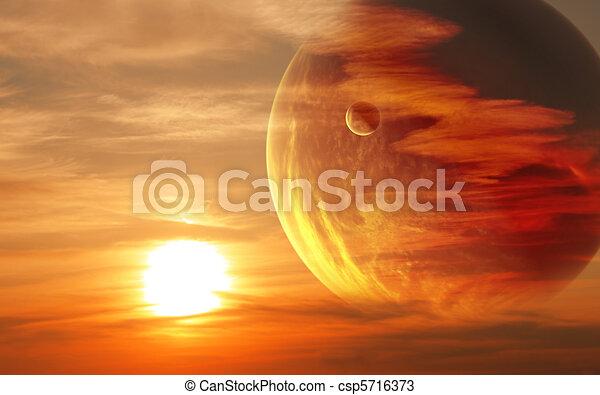Sunset in alien planet - csp5716373