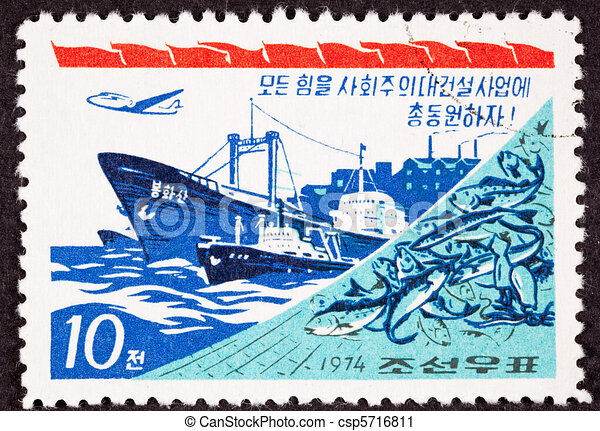 Canceled North Korean Postage Stamp regarding industrial power, shows Fishing Boat, Net, Freighter, Airplane, Factory - csp5716811