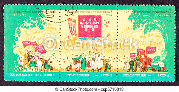 Farmers celebrate the 10th anniversary of Kim Il-Sung?s 1964 Thesis on Agriculture. - csp5716813