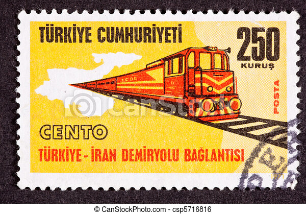 stock illustration of canceled turkish postage st