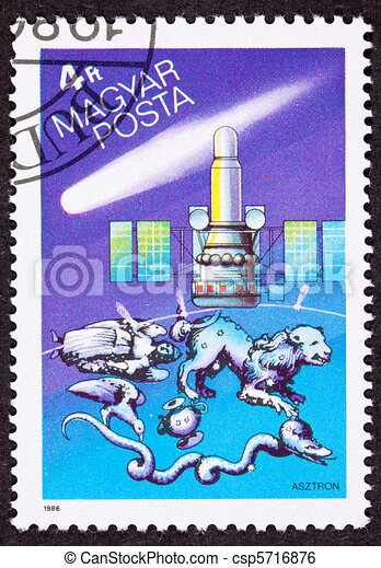 Hungarian postage stamp commemorating the USSR's Astron UV and X-ray astrophysical observations satellite, Halley's comet, and several constellations. - csp5716876