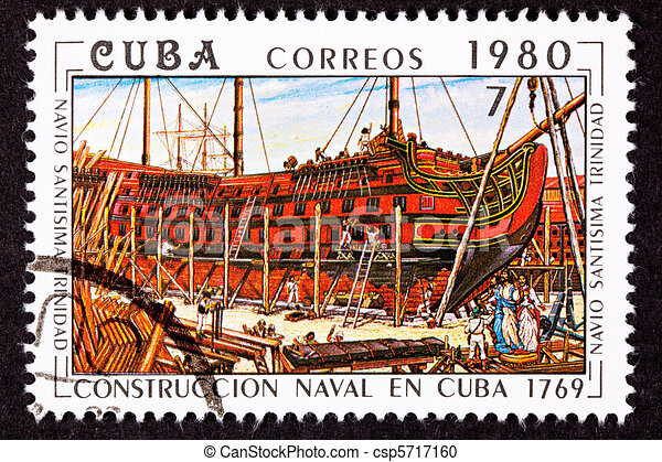 Cuba Postage Stamp Sant?sima Trinidad Ship of the Line Construct - csp5717160