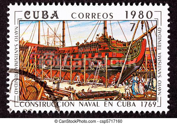 Cuba Postage Stamp Sant?sima Trinidad Ship of the Line Construct - csp5717160