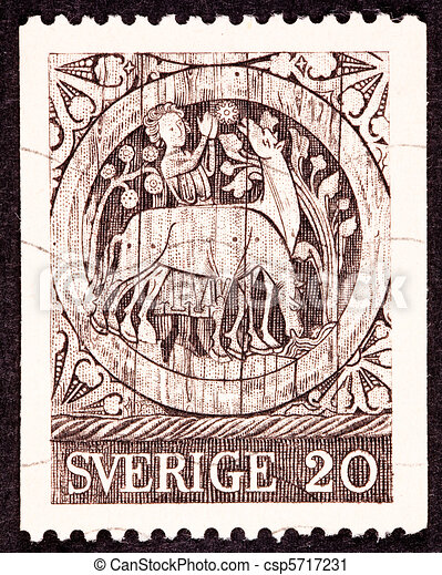 Canceled Swedish Postage Stamp Carving Wooden Door St. Stephen - csp5717231