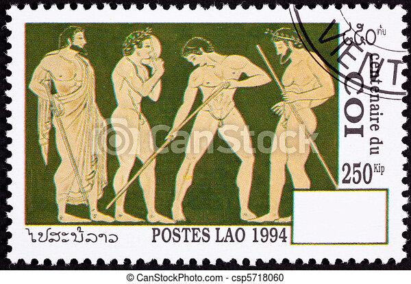 Laos Postage Stamp Side View Nude Greek Athletes Laurel Wreath - csp5718060