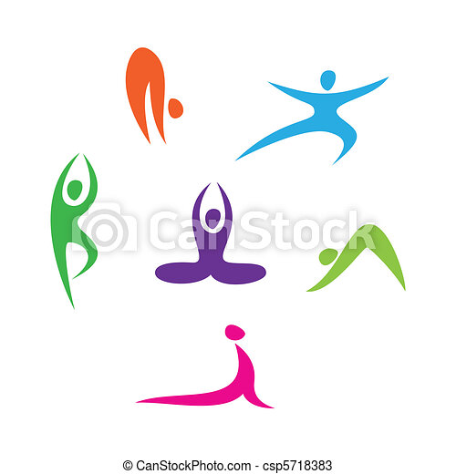 Vektoren von icons-yoga - satz, von, heiligenbilder, -, Joga ...