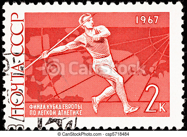 Canceled Soviet Russia Postage Stamp Man Throwing Javelin Sport  - csp5718484