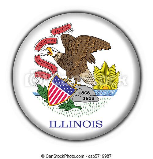 Illinois (USA State) button flag star shape  - csp5719987
