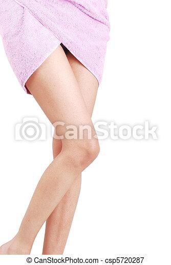 Sexy women legs in towel - csp5720287