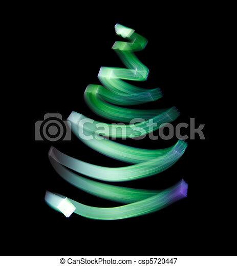 Shone green wavy trace. Symbol of Christmas trees. - csp5720447
