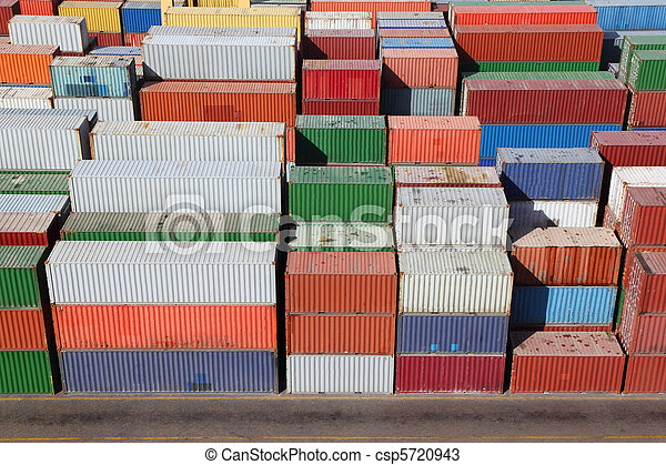 multicolored containers for cargo transportation on ship - csp5720943