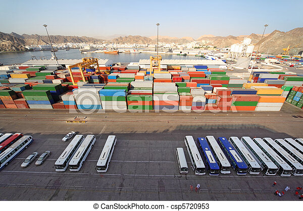 shipping port with buses and containers for cargo transportation view from above - csp5720953
