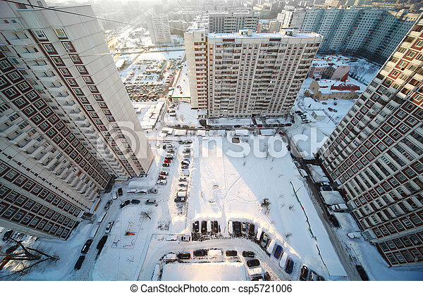 yard with three big dwelling houses, winter time, view from above - csp5721006
