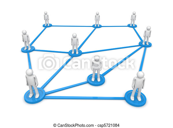 Social network concept. People standing on pedestals connected by lines. Isolated. One of a 1000+ characters series. - csp5721084