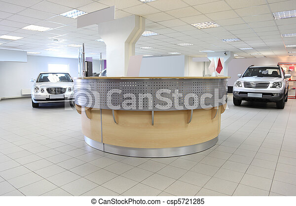 consultation chamber for automobile buyers, reception hall with white walls - csp5721285