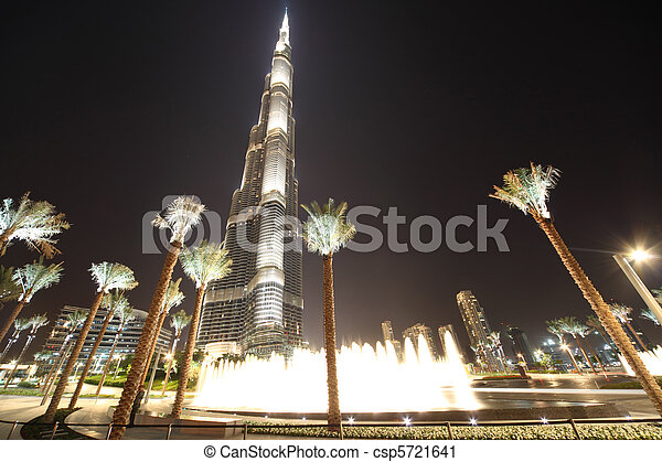DUBAI - APRIL 18: Burj Khalifa (Burj Dubai) skyscraper is bigest building in the world, 18 april 2010 in Dubai, UAE. - csp5721641