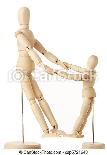 wooden figures of parent and child holding for hands, full body, side view, isolated on white - csp5721643