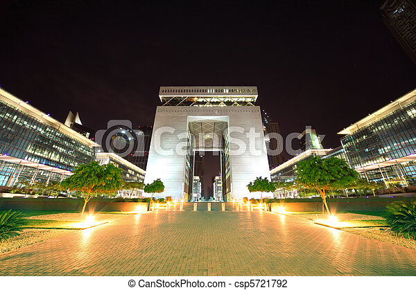 DUBAI - APRIL 18:The Gate - main building of Dubai International Financial Centre, the world's fastest growing international financial centre, 18 april 2010 in Dubai, UAE. - csp5721792