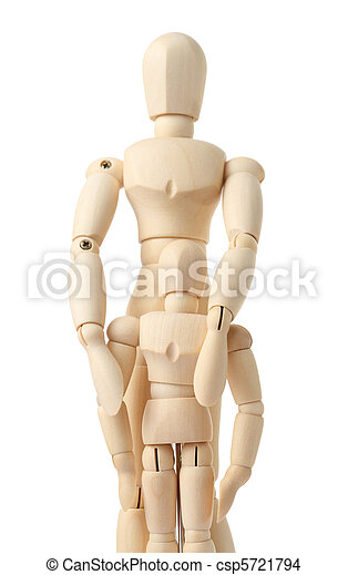wooden figures of parent embracing his child from back, half body, isolated on white - csp5721794