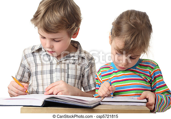 little caucasian boy and girl are painting in notebooks, half body, isolated on white - csp5721815