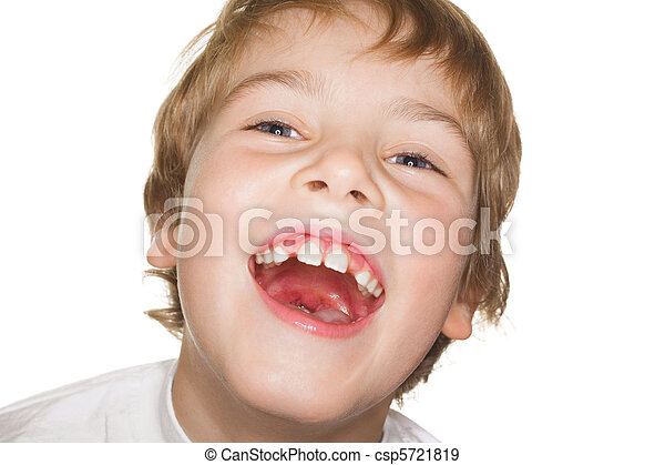 portrait small child in a white t-shirt photography studio, open mouth. laughter - csp5721819