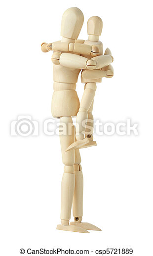wooden figure of parent holding and embracing his child, side viev, full body, isolated on white - csp5721889