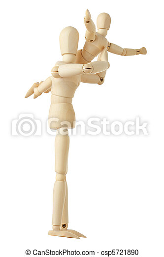 wooden figures parent holding his child on hands, full body, isolated on white - csp5721890